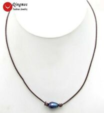 """Black Rice 10-11mm Natural FW Pearl Necklace for Women Chokers 18"""" and Leather"""