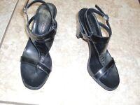 "ITALY""DONALD J.PLINER""Black Leather Sling Back Heels Sandals Shoes size 6M~CUTE~"