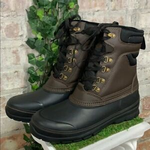 Mens Khombu Kenny All Seasons Leather Rubber Boot Brown Black - Pick Size