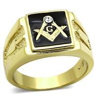 Mens masonic gold ring onyx black cz signet pinky smart 18kt steel all size1159