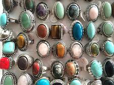 Wholesale 5Pcs Oversize Natural Gemstone Stone Unisex Finger Rings 17-20mm