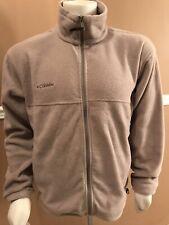 Columbia Mens Sz Large Full Zip Fleece Jacket Coat Sweater Solid Khaki Tan