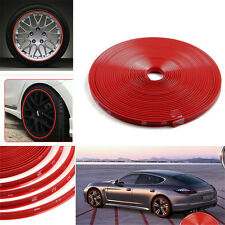 Motor Bike Car Wheel Hub Rim Edge Protector Rubber Strip Ring Sticker Line Red