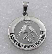 Inspirational Music Necklace Song Can Warm the Heart Bird Stainless Steel Silver