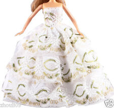 Handwork soft Princess Party Dress/Evening Clothes/Gown For Barbie Doll  1096