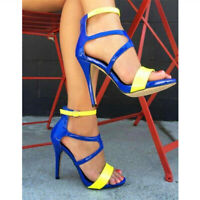 Women's Patent Leather Ankle Strap Sandals Open Toe Sexy High Heels Casual Shoes
