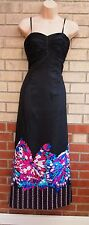 TEATRO BLACK STRAPPY PADDED BRA SEQUIN BUTTERFLY TRIM PARTY LONG MAXI DRESS 8 S