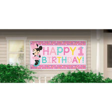 Party Supplies One Birthday Minnie Mouse Girls 1st Pink Sign Banner