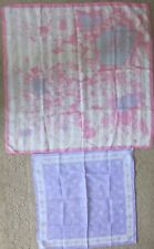 "Vintage Scarves~Pastels~Lavender 21x 20.5"" by Robinson & Golluber~Pink 30.25"" sq"