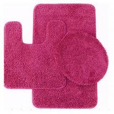 Layla 3 Piece Shag Bathroom Rug set- Bath mat, Contour and Seat Cover Fuchsia