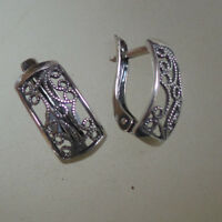Russian sterling silver filigree EARRINGS HALLMARKED 925 Russia