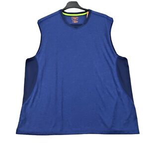 Foundry Mens Active Tank Top 4XL Heathered Blue Stretch Sleeveless Round Neck NW