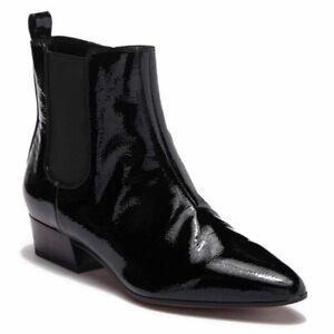 Franco Sarto Archie Chelsea Boots Sz 10 Black Patent Leather Block Heels Zipper