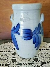 VINTAGE 1987 ROWE POTTERY CROCK WITH BLUE FLOWERS