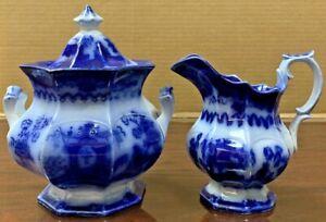 Flow Blue Oregon Pattern Creamer & Sugar Bowl  Chinese Porcelaine, TJ & J Mayer