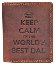 KEEP CALM I'M THE WORLDS BEST DAD GENTS BROWN DISTRESSED HUNTER LEATHER WALLET