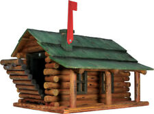 Log Cabin Mailbox Handcrafted Wooden Mailbox w Flag Red by River Edge
