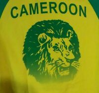 Adidas Cameroon Dancing Lion Soccer Football Yellow Green T Shirt Size M Rare