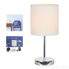 Table Lamp Fabric Shade White floor Light Home Room Power Tool Cord Bulb Space