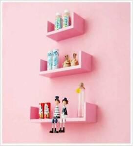 Modern Wood Wall Mount Storage Floating U-Shaped Shelves - Set of 3 / Pink