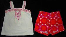 Baby Gap NWT White Embroidery Shirt Top Orange Pink Circle Shorts 18-24 $42