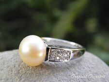 10-11mm PEACH PINK Pearl Solitaire, CZ's (Size 6 1/2, M 1/2) & 925 Silver RING