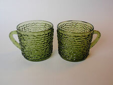 Vintage Anchor Hocking Avocado Green Soreno Snack Set Mugs Pair 2 Rippled Ribbed