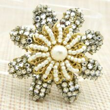 Miriam Haskell Faux Pearl Seed Clear Rhinestone Large Flower Pin Brooch
