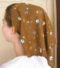 Ladies scarf headcovering ltweight crinkle cotton brown floral modest handmade