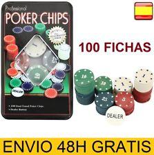 Juego de Poker 100 fichas numeradas con caja + Ficha dealer