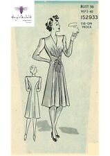 "Vintage 1940's Sewing Pattern Tie Front Frock Dress Wrap Adjustable Bust 36"" WW2"