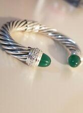 David Yurman Sterling Silver 10mm Cable Hinge Bracelet Green Onyx & Diamonds