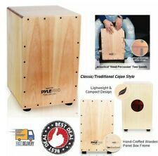 Full Size Wooden Percussion Box With Internal Guitar Strings Pyle String Cajon