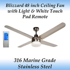 "Blizzard 48"" Stainless Steel Ceiling Fan with Light and White Touch Pad Remote"