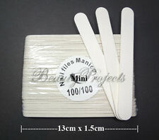 50pcs Mini Manicure Nail Files White 100/100 Grit Plastic Center 13cm (5in) NEW!