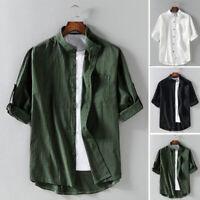 Men's 3/4 Sleeve Cotton Linen Shirt Formal Casual Smart Shirts Tops Blouse Tees