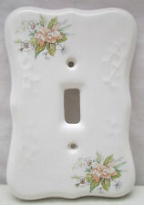 Vintage TH Athena USA Porcelain Single Light Switch Cover White Flowers Floral