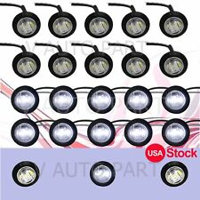 """20X 3/4"""" Round Mini White Clear Side 3 LED SMD Clearance Marker Light US Stock"""