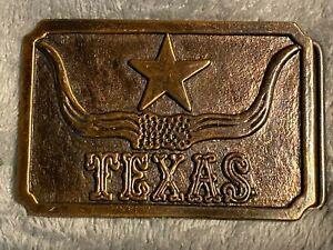 Texas Longhorn Brass Type Belt Buckle made in hong kong vintage