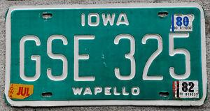 1979 White & Green Version Iowa License Plate WAPELLO with 1980 & 1982 Stickers