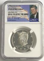 1992 S NGC PF69 PROOF SILVER KENNEDY HALF DOLLAR ULTRA CAMEO JFK SIGNATURE 50C