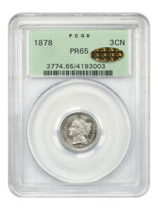 1878 3cN PCGS/CAC PR 65 (OGH) *Gold CAC* - Proof only Issue - 3-Cent Nickel