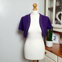 PEPPERBERRY (UK Size 14) Deep Purple Soft Knitted Bolero Cropped Beaded Cardigan
