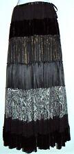 BCBG MAX AZRIA Boho Peasant Tiered Long Skirt Black Women Size SMALL