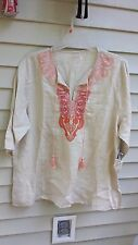 WOMENS Symple NYC Beige and Melon Embroidered Top size 1X,2X