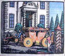 Kenneth Broad woodblock limited edition The Coach signed numbered