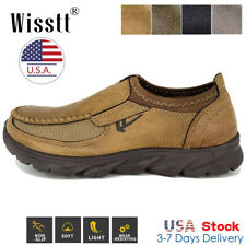 Mens Leather Casual Shoes Breathable Antiskid Loafers Slip on Moccasins Autumn