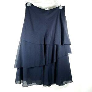 Ann Taylor Dark Navy Blue Size 0 Tiered Flouncy Skirt Hidden Side Zipper