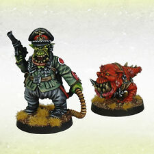 Ork War2 Orc Grot Greatcoat Goblin Taskmaster with Gnaw Hound Kromlech KRM083