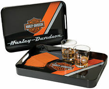 Harley-Davidson® Orange Bar & Shield Serving Tray w/ Handles 2-pc Set HDL-18563
